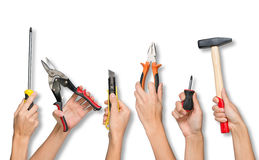 Set of peoples hands holding tools Royalty Free Stock Image