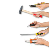 Set of peoples hands holding tools. Set of peoples hands holding different tools from right side on isolated white background stock image