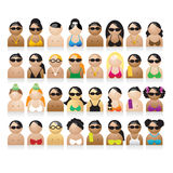 Set of peoples icons. Summer vacations, vector illustration Stock Photos