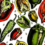 Set of  peppers. Royalty Free Stock Image