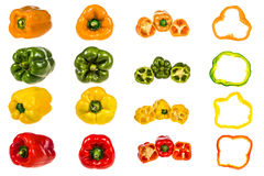 Set from peppers. isolated on white Stock Photography
