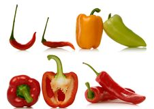 Set of peppers over white Stock Photo