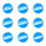 Set with percent. Blue set of icons with percent for your design Stock Image