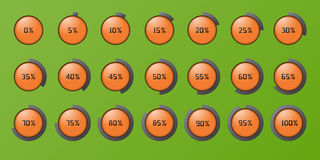 Set of the percent circles icons Stock Photos
