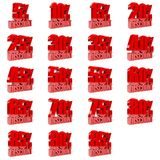 Set of percent discount. Red on white background. Concept 3D illustration Stock Photography