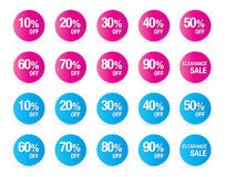 Set of percent discount sign icons, sale symbol, stars stickers Stock Photos
