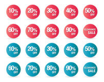 Set of percent discount sign icons, sale symbol, stars stickers Stock Images
