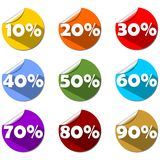 A set of percent label on rolled paper circle in different colors. For use in shop, market or presentation. Modern flat design Royalty Free Stock Photos