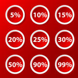 Set with percent. Red set of icons with percent for your design Stock Photos
