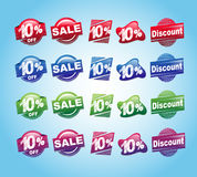 Set of 10 percent stickers with various colors . Five different shapes for 10 percent stickers with the colors : red,blue,green,purple Vector Illustration