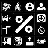 Set of Percent, Switch, Upload, Exit, Compass, , Add, Mute, edit. Set Of 13 simple editable icons such as Percent, Switch, Upload, Exit, Compass, , Add, Mute on stock illustration