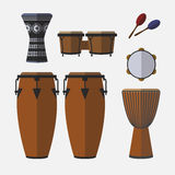 Set of percussion instruments. Flat icon Royalty Free Stock Image