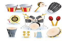 Set of percussion instruments Royalty Free Stock Image