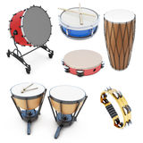 Set of percussion instruments. On white background. 3d illustration. Drums on a white Stock Photos