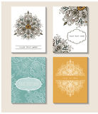 Set of perfect vector card templates. Ideal for Save The Date. Baby shower, mothers day, valentines day, birthday cards, invitations.Vintage art traditional Royalty Free Stock Photo