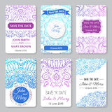 Set of perfect wedding templates with doodles Royalty Free Stock Image