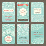 Set of perfect wedding templates with doodles Stock Photos