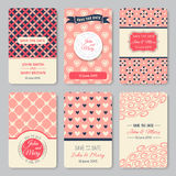 Set of perfect wedding templates with pattern Royalty Free Stock Photography