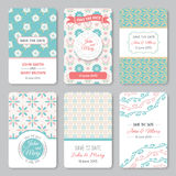 Set of perfect wedding templates with pattern Royalty Free Stock Photos