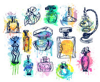 Set of perfume bottles. Collection of  aromas Stock Images