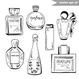 Set of perfume bottles. Set of graphic hand drawn perfume bottles of different shapes and sizes. Element for fashion logo design, decoration, magazine, shop and vector illustration