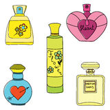 Set of perfume bottles on white background Royalty Free Stock Photography