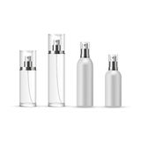 Set of Perfume Spray Bottles in glass and plastic. Vector illustration Royalty Free Stock Photos