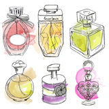 Set with perfumes. Set with different bottles of perfumes. vector illustration Royalty Free Stock Photo
