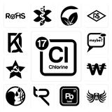 Set of periodic table chlorine, army airborne, pb chemical, tr, , south korean currency, comunist, maybe, kd icons. Set Of 13 simple editable icons such as Royalty Free Stock Photography