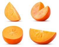 Set persimmon fruit slice, cut in half, three quarters stock photo