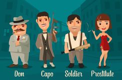 Set person Mafia. Don, capo, soldier, prostitute. Vector flat illustration on background of city streets Stock Images
