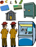 Set of Personal Banking Images. Varied skin tone versions of man looking over his shoulder as he cautiously accesses an automated teller machine. Includes other Stock Photo