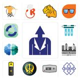 Set of personal development, generic, thermostat, khanda, lithium battery, established, free brain, water filter, sector icons. Set Of 13 simple editable icons Stock Photos