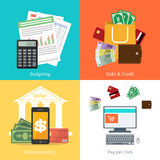 Set personal finance illustration in flat syle. Set personal finance illustration in flat syle Stock Photography