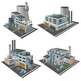 Set of perspective factories. Plants and other industrial area objects Stock Photos