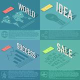 Set of perspective world, idea, sale, success Royalty Free Stock Photo