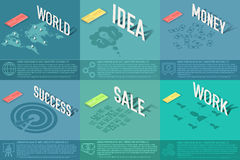 Set of perspective world, idea, sale, success, work, money business card background concept. Vector illustration design Royalty Free Stock Photo