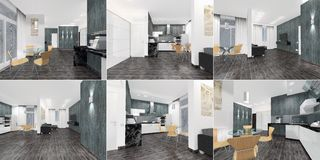 A set of perspectives - an interior of an apartment - a studio in contrasting and modern design. 3D royalty free illustration