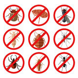 Set of pest insect icons stock illustration