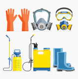 Set of pesticide tool. Gas mask and sprayer. Stock Images