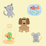 Set of pet animals Royalty Free Stock Images