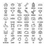 Set of pet icons in modern thin line style. High quality black outline farm animal symbols for web site design and mobile apps. Simple linear veterinary Stock Photo