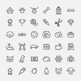 Set of pet icons in modern thin line style. High quality black outline farm animal symbols for web site design and mobile apps. Simple linear veterinary Stock Image