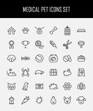 Set of pet icons in modern thin line style. High quality black outline farm animal symbols for web site design and mobile apps. Simple linear veterinary Stock Photography