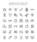Set of pet icons in modern thin line style. High quality black outline farm animal symbols for web site design and mobile apps. Simple linear veterinary Royalty Free Stock Photography