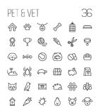 Set of pet icons in modern thin line style. Stock Photos