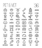 Set of pet icons in modern thin line style. High quality black outline farm animal symbols for web site design and mobile apps. Simple linear veterinary Royalty Free Stock Photo