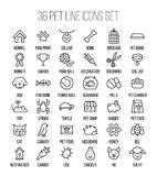 Set of pet icons in modern thin line style. High quality black outline farm animal symbols for web site design and mobile apps. Simple linear veterinary Royalty Free Stock Images