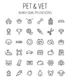 Set of pet icons in modern thin line style. High quality black outline farm animal symbols for web site design and mobile apps. Simple linear veterinary Stock Photos