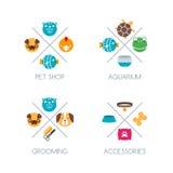 Set of pet shop logo, emblem or label design elements. Vector color icons. Stock Images